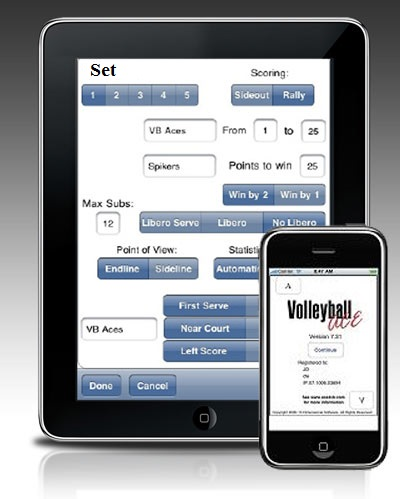 Volleyball ACE runs on the iPad and iPhone and iPodTouch